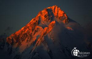 Beautiful Sunset on Mountains Peaks of Northern Pakistan