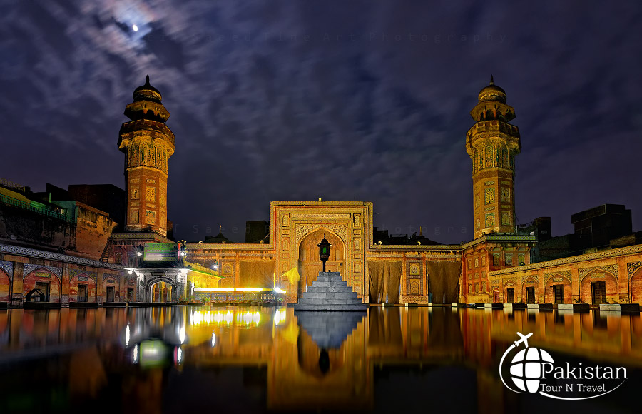 Night View Wazeer Mosque, walled City, Lahore