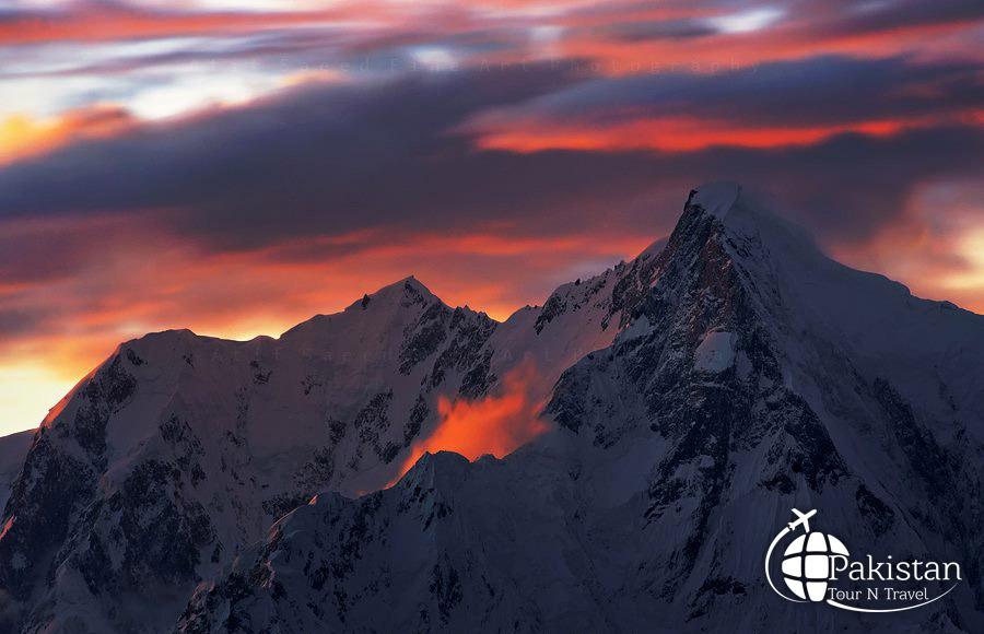 View of Sunset in Baltoro Glaciers, Pakistan