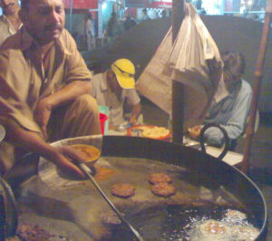 Chappal-kebab cooked in traditional way.