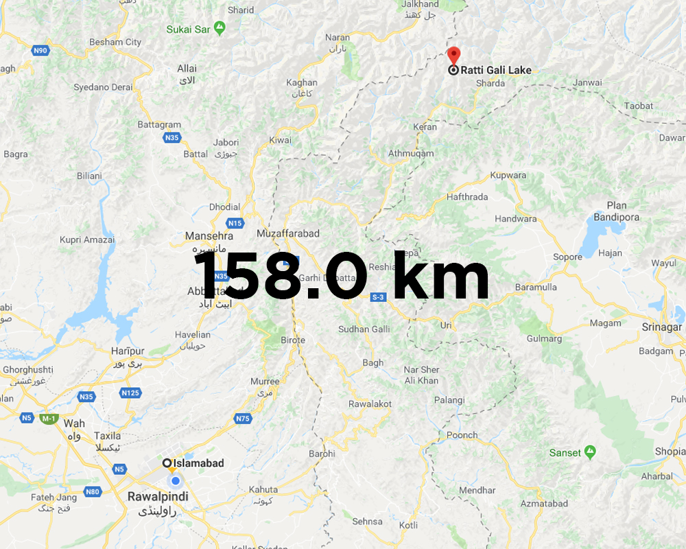 Ratti Gali Lake Distance from Islamabad
