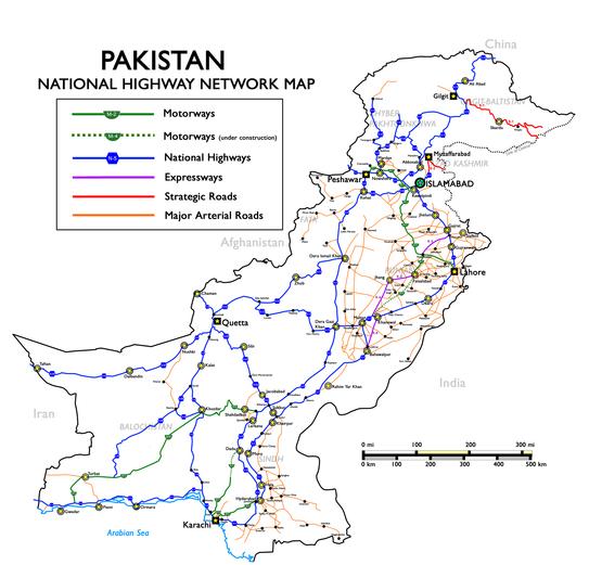 National Highways of Pakistan Map