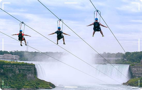 Zipline in the waterfall